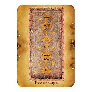 ANTIQUE RENAISSANCE TAROTS  / TWO OF CUPS 9 CM X 13 CM INVITATION CARD