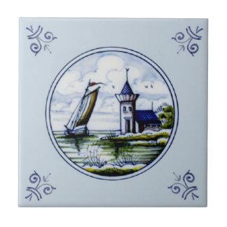 Antique Repro Scenic Delft Blue Multicolor Tile