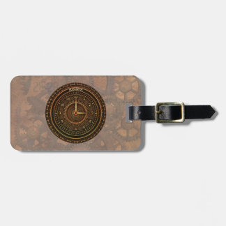 Antique Retro Steampunk Rusty Art Deco Clock Luggage Tag