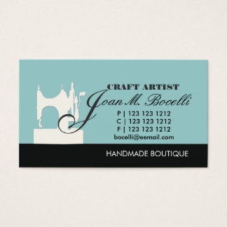 Antique Retro Style Black Sewing Machine Business Card