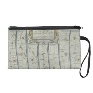 Antique Road Map Wristlet Clutch