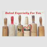 """Antique Rolling Pins """"Baked by YOU"""" Treat Labels Rectangular Stickers"""