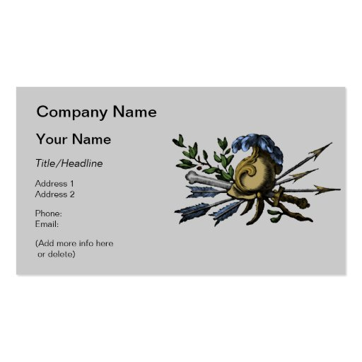 Antique Roman Helmet with Weapons Business Card