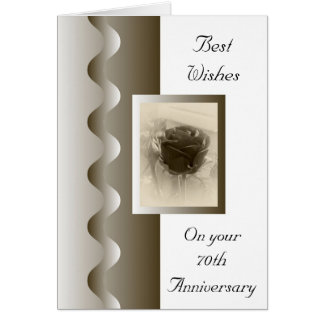 Antique Rose 70th Wedding Anniversary Card