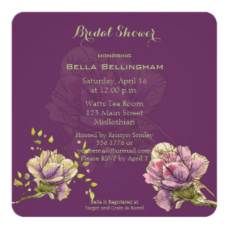 Antique Rose Bridal Shower Invitation