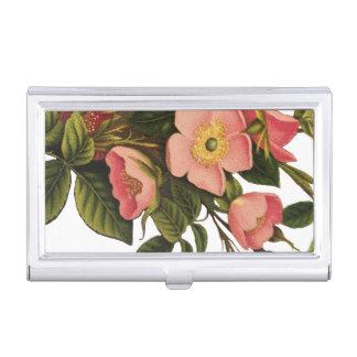 Antique Rose Flower Art Illustration Drawing Business Card Holder