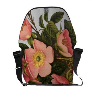 Antique Rose Flower Art Illustration Drawing Courier Bag