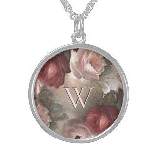 Antique Rose Initial Necklace