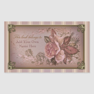 Antique Rose pink Bookplate Rectangle Sticker