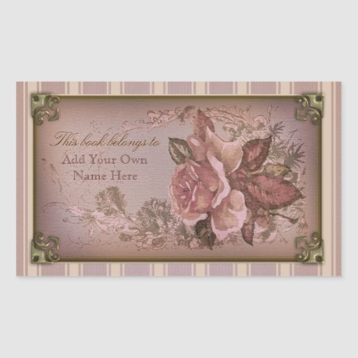 Antique Rose (pink) Bookplate Rectangle Sticker