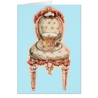 Antique Rose Teacup and Victorian Chair Greeting Card