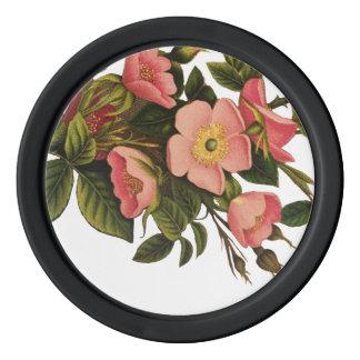 Antique Rose Vintage Flower Illustration Art Poker Chips