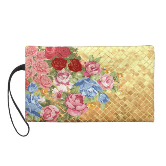 Antique roses on gold wristlet clutches