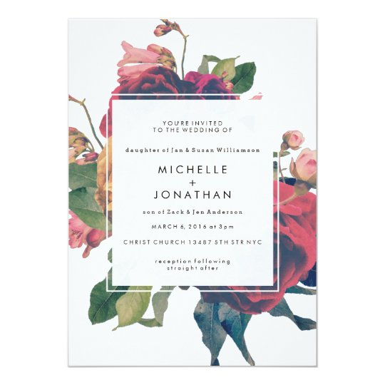 Antique Roses Vintage Boho Wedding Invitation Zazzle Com Au