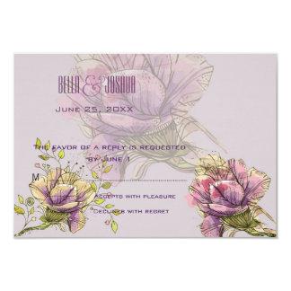 Antique Roses Wedding RSVP 9 Cm X 13 Cm Invitation Card