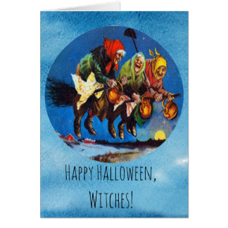 Antique Russian Witches Halloween Card