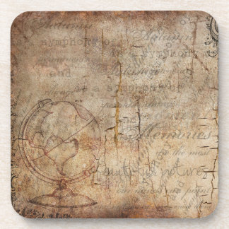 Antique Rustic Brown Distressed Plastic Coasters