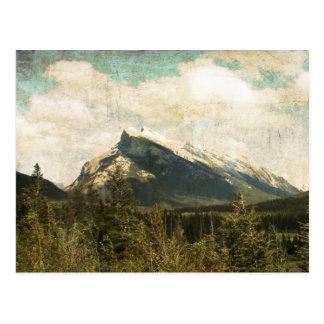 Antique rustic Mount Rundle Postcard