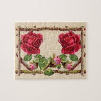 Antique Rustic Roses Vintage Flower Puzzles