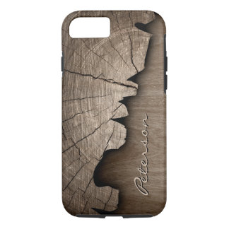 Antique Rustic Wood Grain Look - Monogram Name iPhone 7 Case