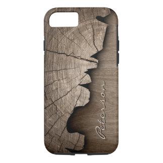 Antique Rustic Wood Grain Look - Monogram Name iPhone 8/7 Case