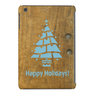 Antique Rustic Wooden Blue Christmas Tree Holiday iPad Mini Retina Covers