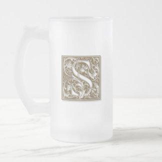 Antique S Monogram Frosted Glass Beer Mug