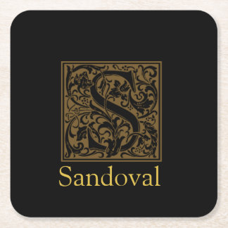 Antique S Monogram Square Paper Coaster