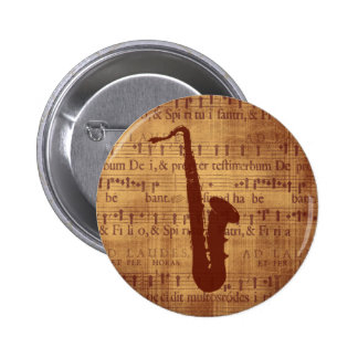 Antique Saxophone 6 Cm Round Badge
