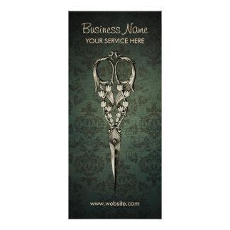 Antique Scissor Elegant Damask Hair Salon Rack Card