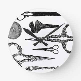 Antique Scissors Vignette Round Clock