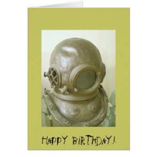 Antique Scuba Helmet Card