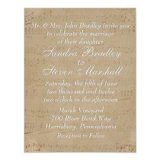 Antique Sheet Music Theme Wedding Invitation