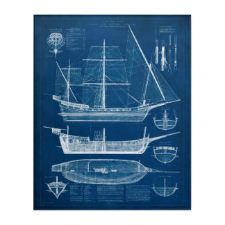 Antique Ship Blueprint I Acrylic Wall Art