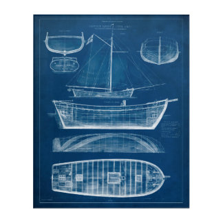 Antique Ship Blueprint II Acrylic Print