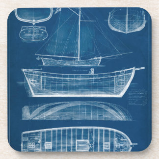 Antique Ship Blueprint II Coaster