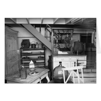 Antique shop black and white blank card