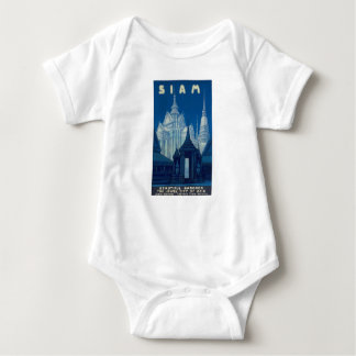 Antique Siam Bangkok Temples Travel Poster Baby Bodysuit