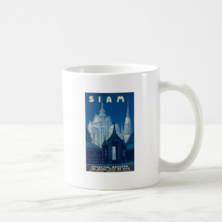 Antique Siam Bangkok Temples Travel Poster Coffee Mug