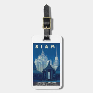 Antique Siam Bangkok Temples Travel Poster Luggage Tag