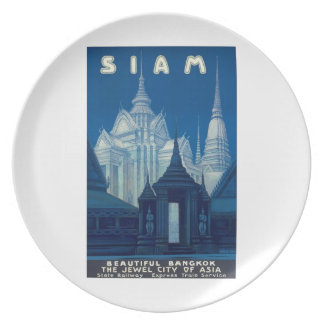 Antique Siam Bangkok Temples Travel Poster Plate