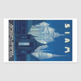 Antique Siam Bangkok Temples Travel Poster Rectangular Sticker