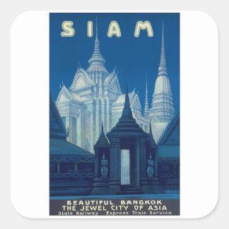Antique Siam Bangkok Temples Travel Poster Square Sticker