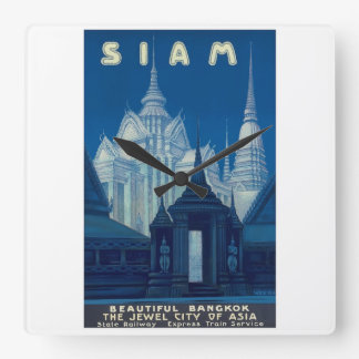 Antique Siam Bangkok Temples Travel Poster Square Wall Clock
