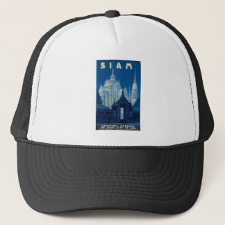 Antique Siam Bangkok Temples Travel Poster Trucker Hat
