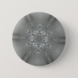 Antique Silver Gray Decorative Kaleidoscopic Star 6 Cm Round Badge