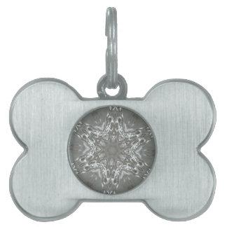 Antique Silver Gray Decorative Kaleidoscopic Star Pet Name Tag