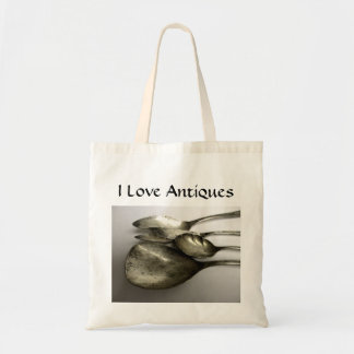 Antique silverware shabby chic tote bag