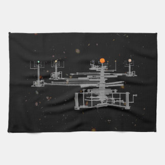 Antique Solar System Orrery in Space Tea Towels