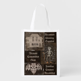 Antique Spooky Gothic Goth Cute Trio Reusable Grocery Bag